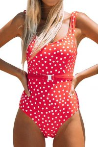 red swimsuit to hide tummy bulge